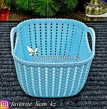Корзина для хранения, квадратная. Материал: Пластик. Цвет: Голубой.