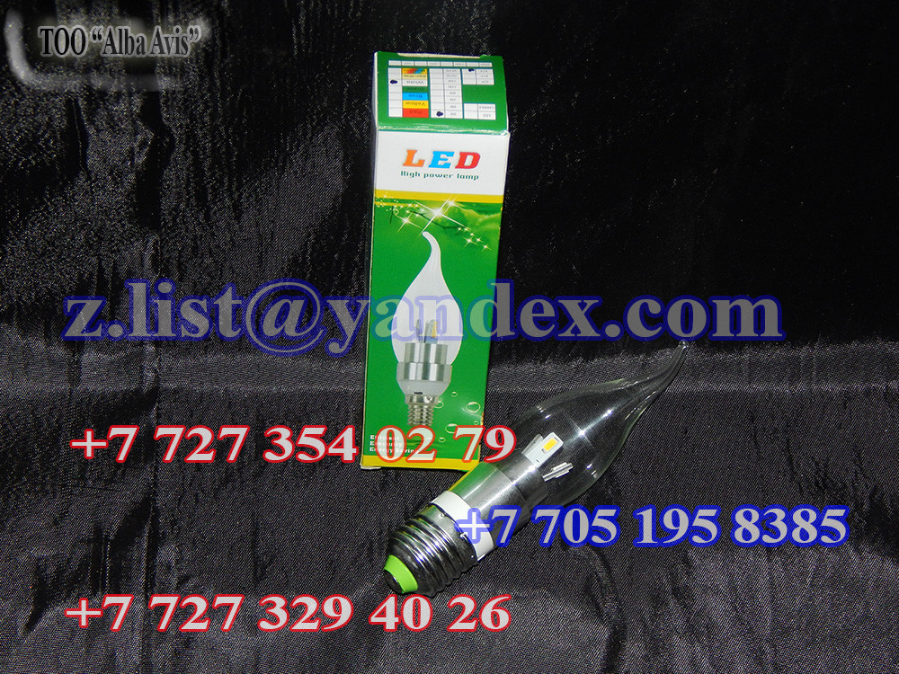 Лампа светодиодная свеча на ветру с усами E27, 3 ватт