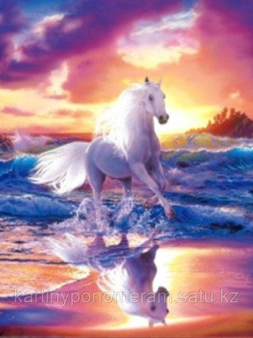 "Картина стразами на подрамнике (40х50 см)""Белый конь"" MB-408"