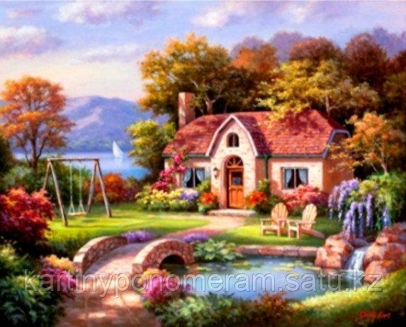 """Картина стразами на подрамнике (40х50 см)""""Уютный домик"""" MB-437"""