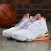 """Баскетбольные кроссовки Nike Lebron 17 (XVII ) """"White-Orange"""" from LeBron James, фото 2"""