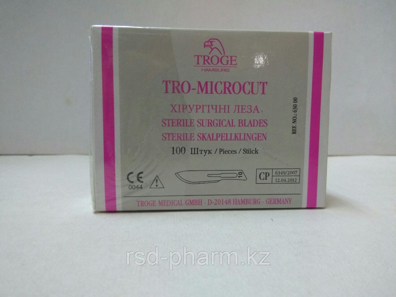 Стерильные лезвия для скальпелей №10 TRO-MICROCUT, 100 шт в уп.