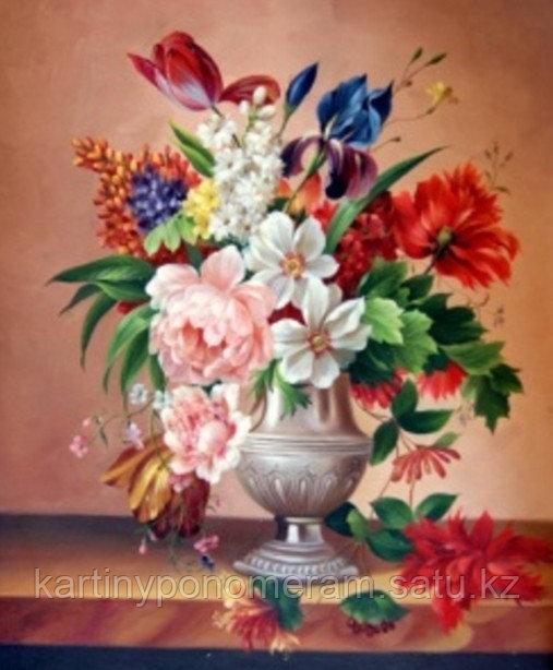 """Картина стразами на подрамнике (40х50 см)""""Букет в серебрянной вазе"""" MB-512"""