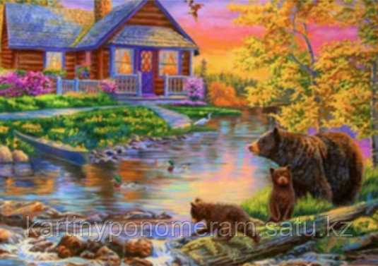 """Картина стразами на подрамнике (40х50 см)""""Медведи у лесного домика"""" RA3657"""