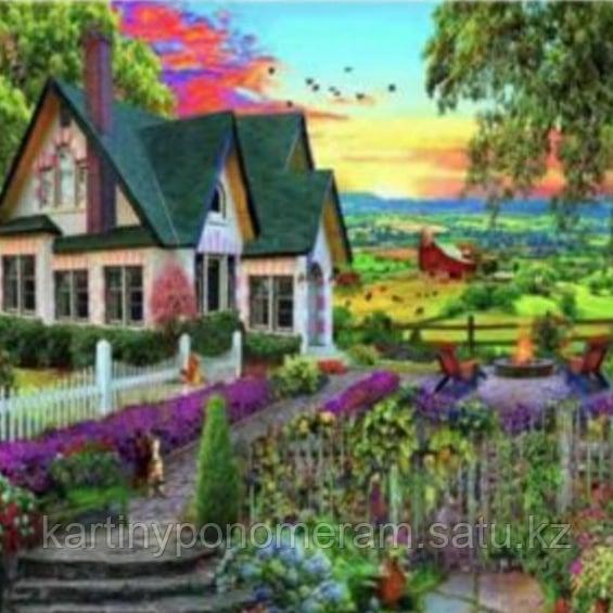 """Картина стразами на подрамнике (40х50 см)""""Домик с зеленой крышей"""" RA3544"""
