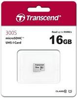 Карта MicroSD 16GB Class 10 U1 Transcend TS16GUSD300S.