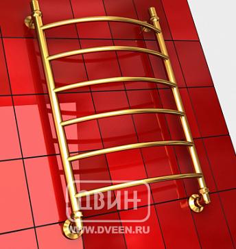 """ДВИН Полотенцесушитель  R 80/50 1""""-1/2"""" Водяной (К3 Золотой хром)"""