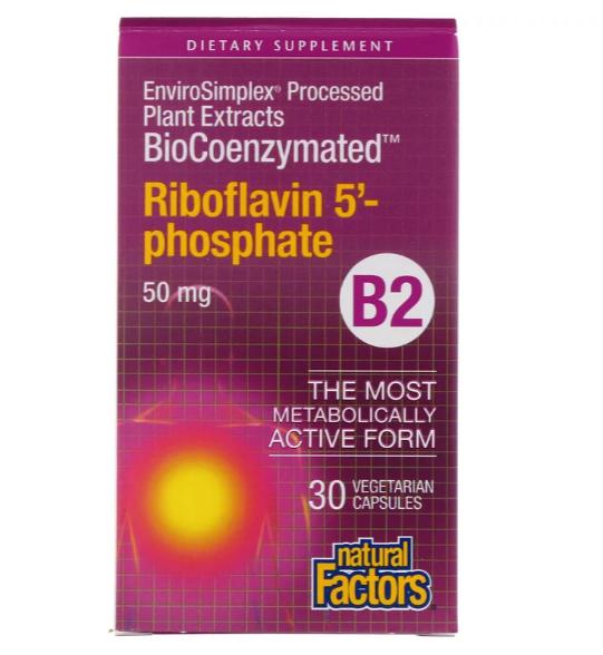 Natural Factors, BioCoenzymated, B2, рибофлавин 5'-фосфат, 50 мг, 30 вегетарианских капсул