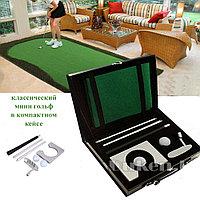 Набор для мини гольфа с металлической клюшкой в кожаном чемодане
