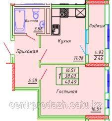 1 комнатная квартира в ЖК Сенатор Парк  39.25 м²