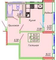 1 комнатная квартира в ЖК Сенатор Парк  39.25 м², фото 1