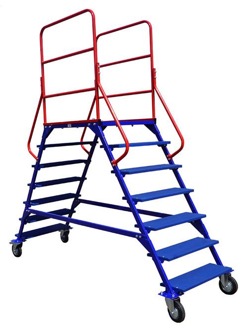 Лестница на колесах ЛР 6.2 (785х2135х2330) 6 ступеней 2 марша (Арт. 3146-L)