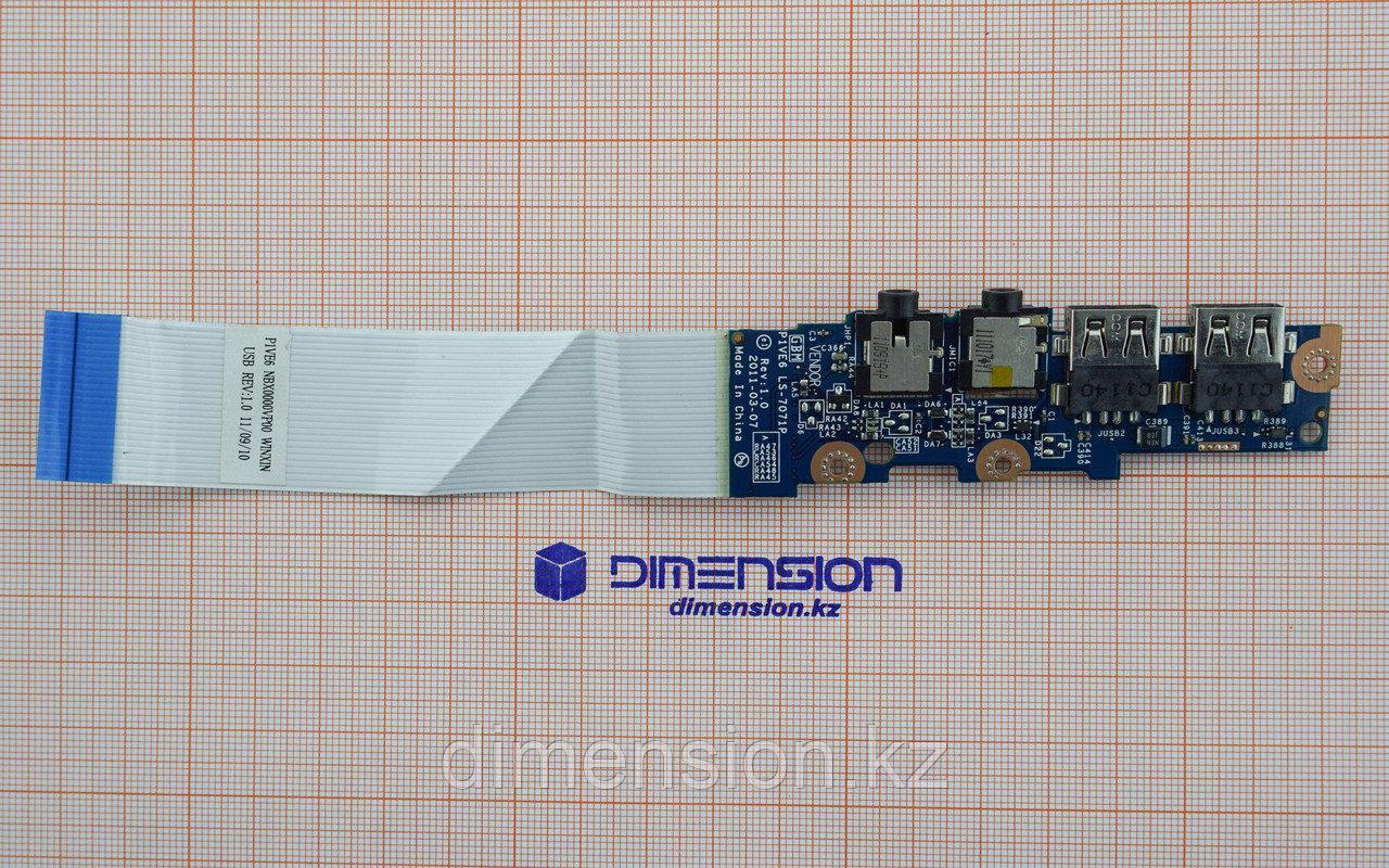 USB 2.0 и Audio разъем, плата P1VE6 LS-7071P для ACER Aspire One 722