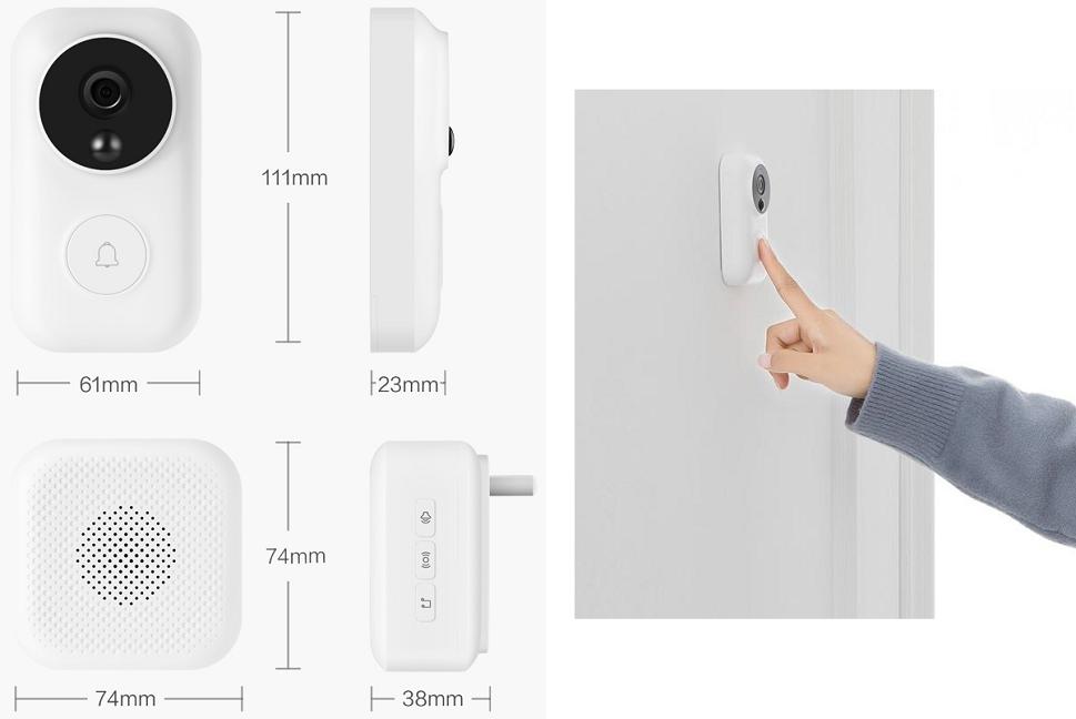 Умный видеодомофон Xiaomi Video Doorbell (Mijia AI Face Identification - фото 1
