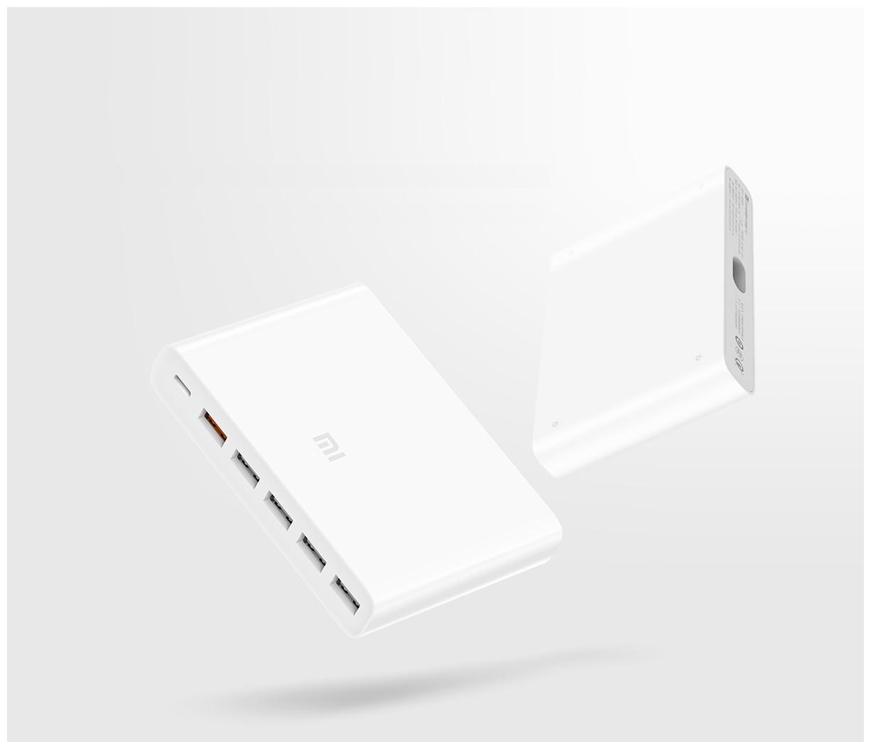 Универсальное зарядное устройство Xiaomi 60W Fast charger поставляется с портом C-Type и 5 портами USB Type-A