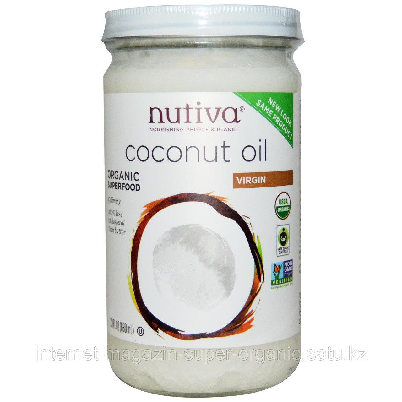 Органическое кокосовое масло первого холодного отжима нерафинированное, 680 мл, стеклянная банка, Nutiva