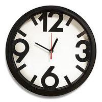 Часы настенные 'Классика', 4 большие цифры, черный обод, 28х28 см
