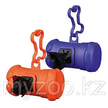 Пластиковая сумочка для собачьих экскрементов, с креплением на поводок, в комплект входит 1 рулон пакетиков p