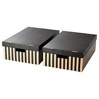 Коробка с крышкой 2-шт. ПИНГЛА  полоска 56x37x18 см ИКЕА, IKEA, фото 1