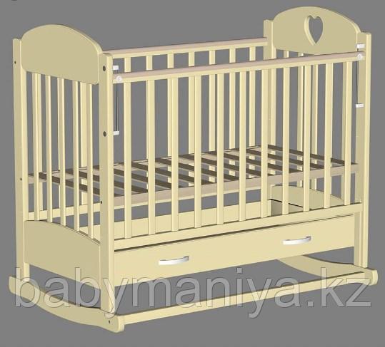 Кровать детская Ведрус ИРИШКА 2 (маятник накладка сердечко) Слоновая кость