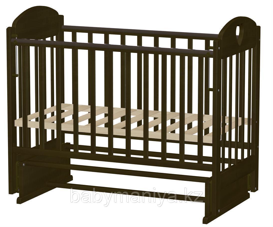 Кровать детская Ведрус ИРИШКА 7 без ящика (маятник накладка сердечко) Темный орех