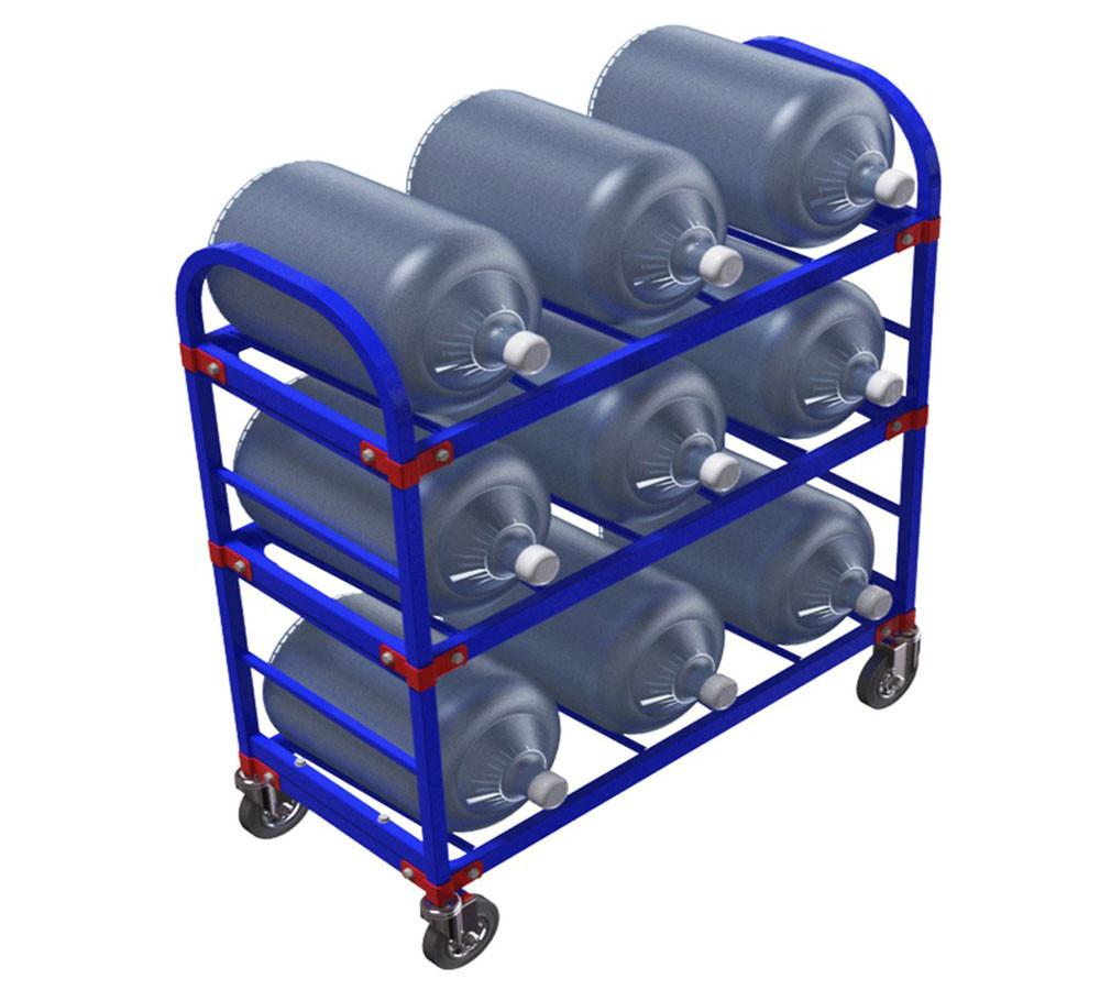 Тележка стеллаж для 9 шт. 19 литровых бутылей с водой ТСВД 9 (Арт. 2342-T)