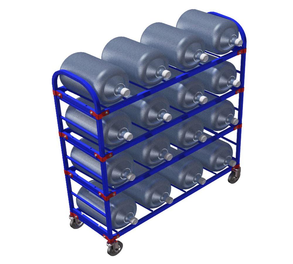 Тележка стеллаж для 16 шт. 19 литровых бутылей с водой ТСВД 16 (Арт. 2344-T)