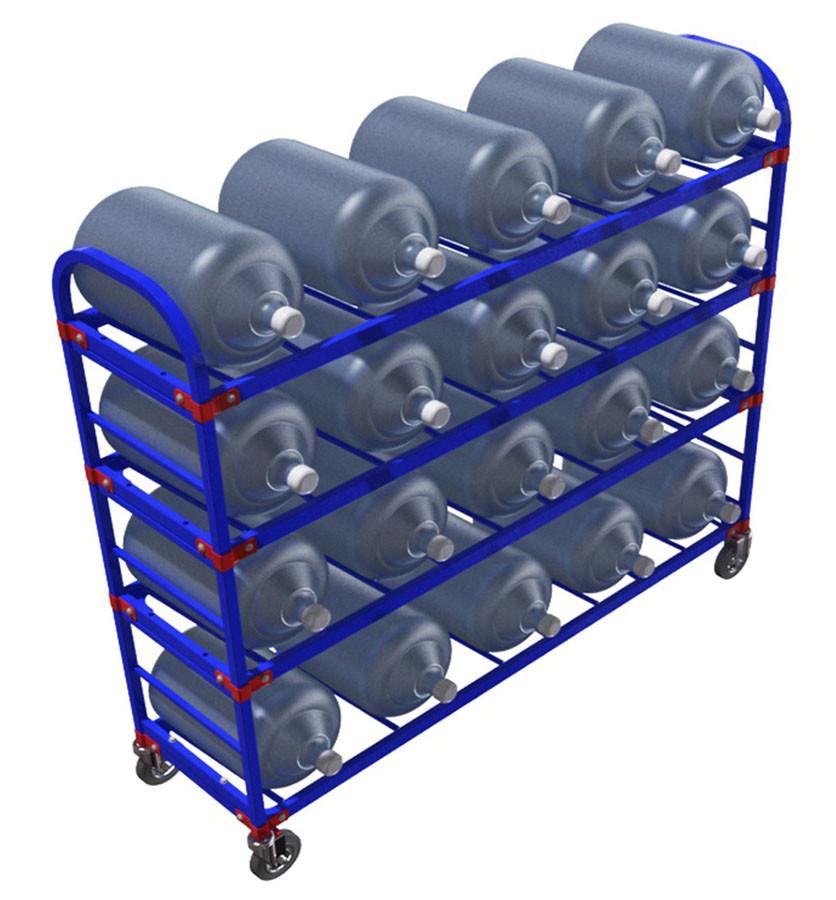 Тележка стеллаж для 20 шт. 19 литровых бутылей с водой ТСВД 20 (Арт. 2345-T)