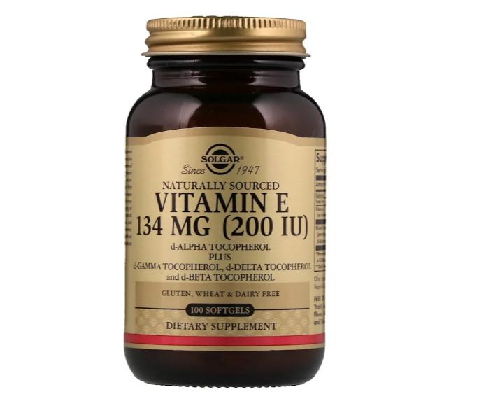 Solgar, Натуральный витамин Е, 134 мг (200 МЕ), 100 мягких таблеток