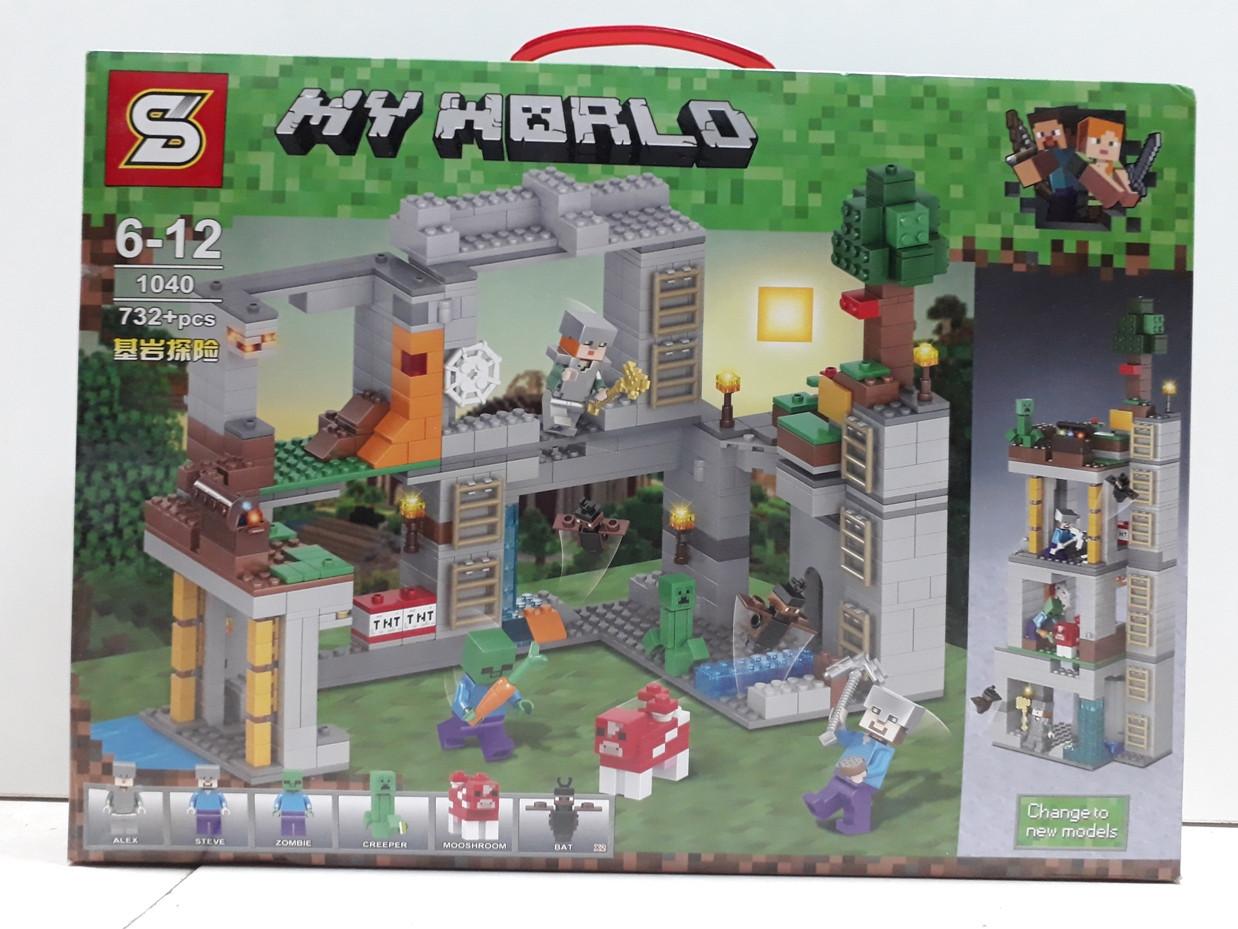 Конструктор My world 1040 732 pcs. Minecraft. Майнкрафт.