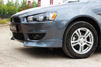 Накладка на передний бампер клыки Mitsubishi Lancer X 2007-2010, фото 2