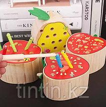 Деревянная игрушка - Фрукты с червяками (на магнитах), фото 2