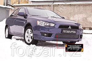 Зимняя заглушка решетки переднего бампера Mitsubishi Lancer X 2007-2010
