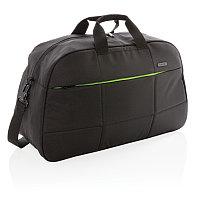 Дорожная сумка Soho business из RPET (без содержания ПВХ), черный; зеленый, Длина 54 см., ширина 22 см.,