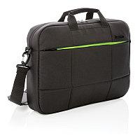 """Сумка для ноутбука Soho business из RPET, 15"""" (без ПВХ), черный; зеленый, Длина 39,5 см., ширина 7,5 см.,"""