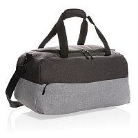 Двухцветная дорожная сумка с RFID из RPET, серый, Длина 48 см., ширина 24 см., высота 25 см., P707.262