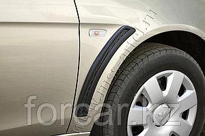 Накладки на передние крылья (с сеткой) Mitsubishi Lancer X 2011-