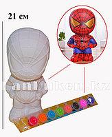 Набор для детского творчества копилка раскраска Человек Паук (кисточка и краски 8 цветов)
