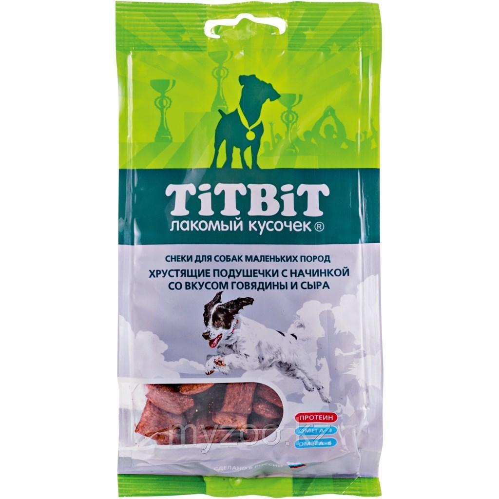 Tit Bit, Тит Бит Хрустящие подушечки с начинкой со вкусом говядины и сыра для маленьких пород 95 г