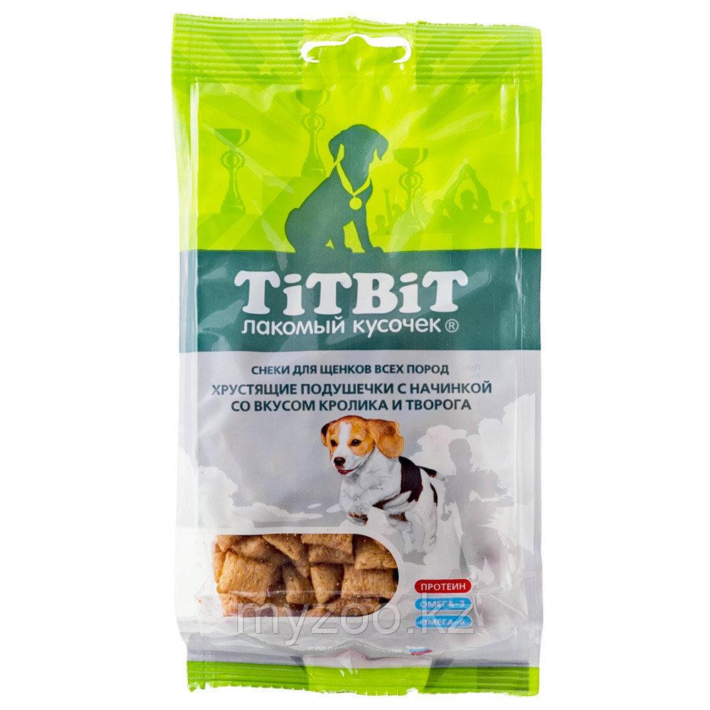 Tit Bit, Тит Бит Хрустящие подушечки с начинкой со вкусом кролика и творога для щенков 95 г