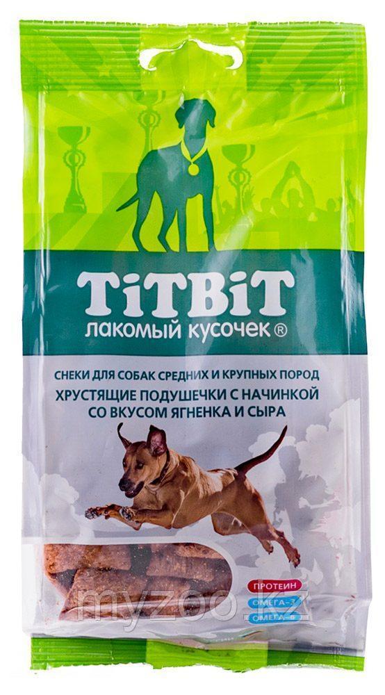 Tit Bit, Тит Бит Хрустящие подушечки с начинкой со вкусом ягненка и сыра для крупных и средних пород 95 г