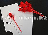 Ручка шариковая в виде красной розы (с опушкой)