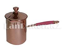 Турка для кофе с крышкой и прорезиненной ручкой 720 мл (медного цвета)