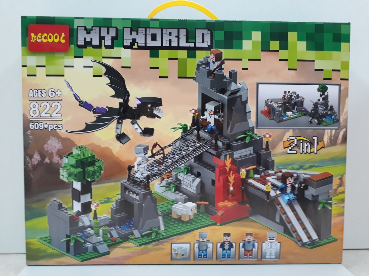 Конструктор Decool My world 822 609 pcs 2 в 1. Minecraft. Майнкрафт
