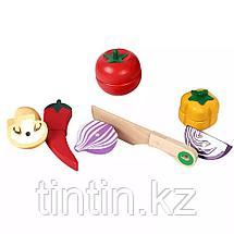Деревянная корзина с разрезными овощами на магнитах, 12 овощей, фото 2