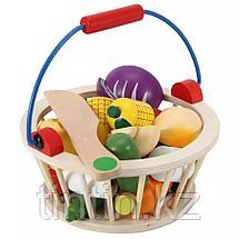 Деревянная корзина с разрезными овощами на магнитах, 12 овощей, фото 3