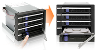 Система хранения данных ICY Dock MB154SP-B 4x3.5inch SATA 3x5.25 Bay Hot-Swap, фото 1