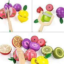 Деревянная корзина с разрезными фруктами на магнитах, 9 фруктов, фото 3
