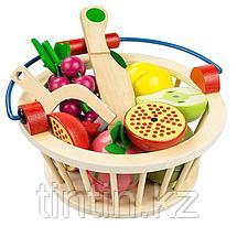 Деревянная корзина с разрезными фруктами на магнитах, 9 фруктов, фото 2
