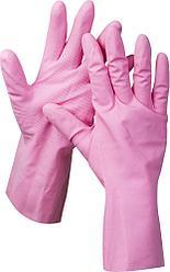 """Перчатки ЗУБР """"МАСТЕР"""" латексные, повышенной прочности, х/б напыление, рифлёные, 100% латекс, 100% хлопок"""